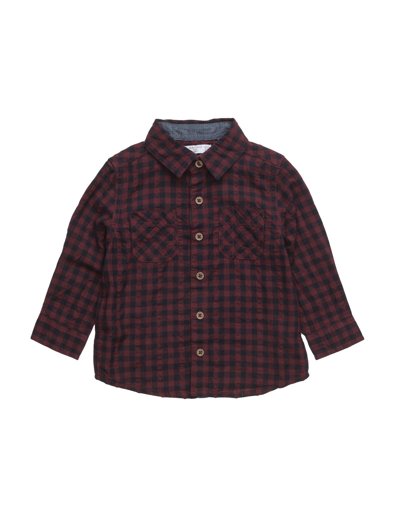 Check Cotton Shirt Mango Kids  til Børn i Rød