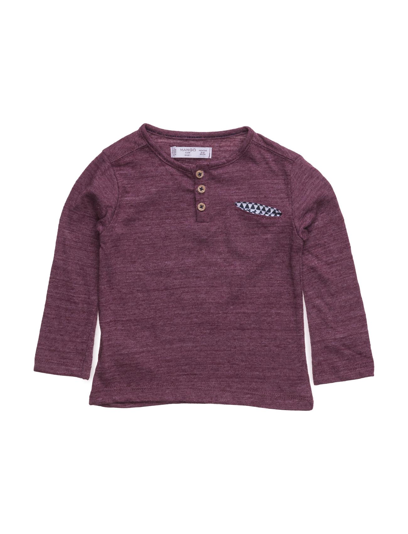 Henley Cotton T-Shirt Mango Kids Langærmede t-shirts til Børn i Mørkerød