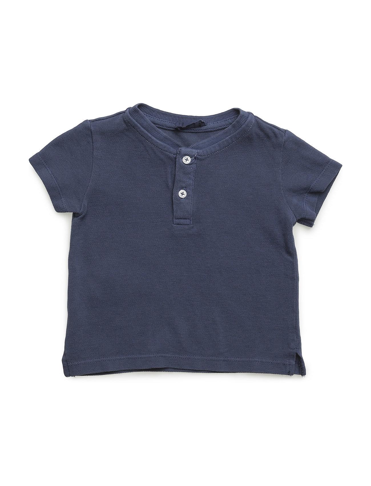 Mao Collar Polo Shirt Mango Kids Kortærmede t-shirts til Børn i Open Blå