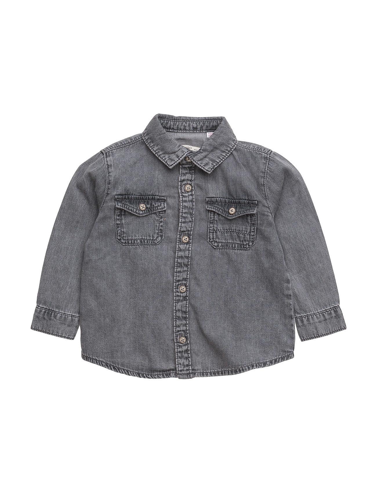Chest-Pocket Denim Shirt Mango Kids  til Børn i Open Blå