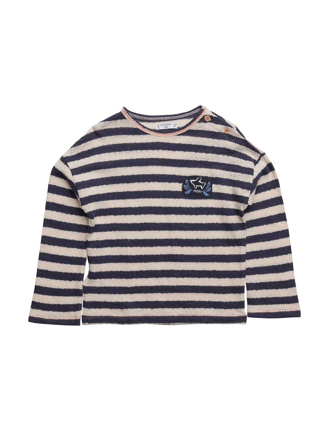 Textured Striped Sweatshirt Mango Kids Langærmede t-shirts til Børn i Navy blå