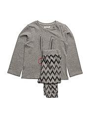 Printed long pyjamas - MEDIUM GREY