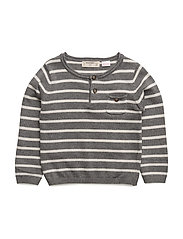 Striped cotton sweater - MEDIUM GREY