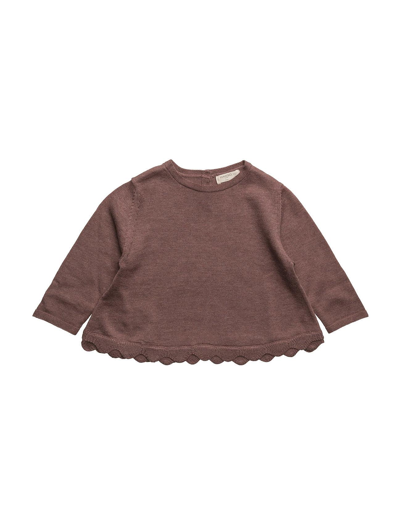 Scalloped Edges Sweater Mango Kids T-shirts til Piger i Mørkerød