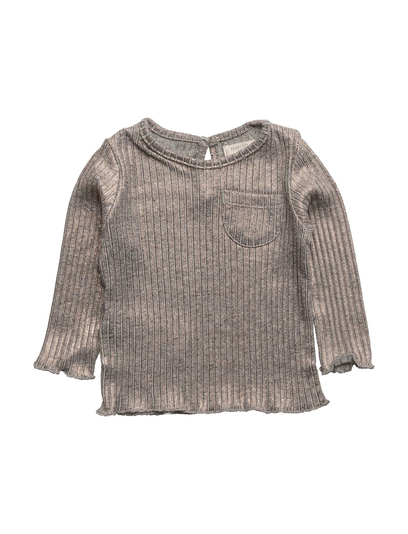 Metallic Ribbed T-Shirt Mango Kids Langærmede t-shirts til Børn i