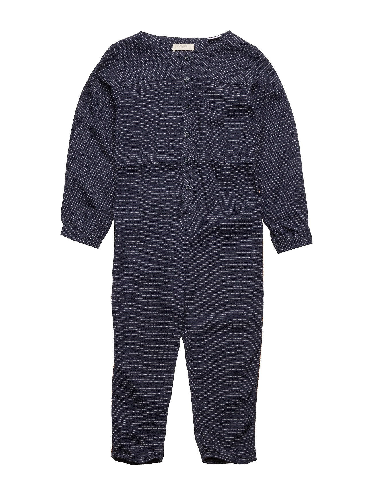 Stripy Textured Jumpsuit Mango Kids  til Børn i Navy blå