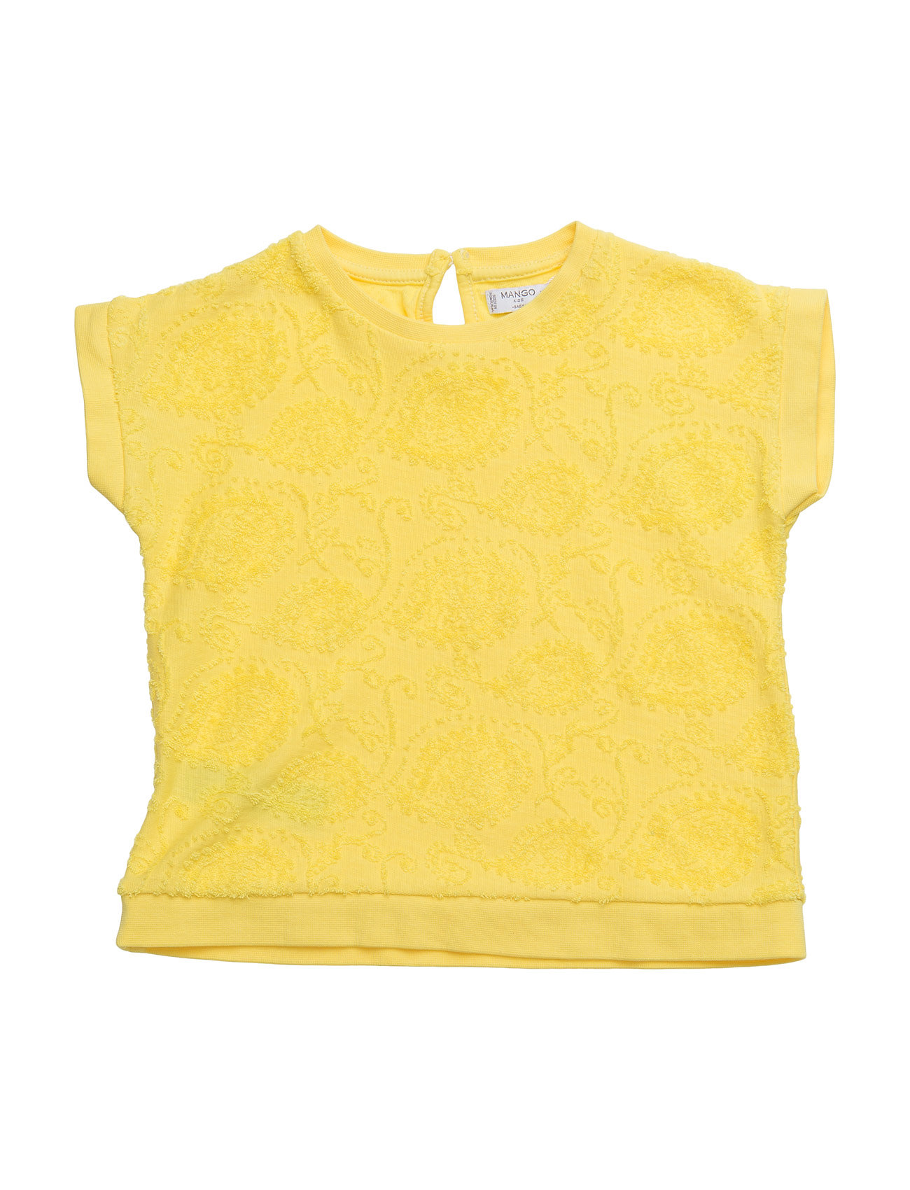 Textured Cotton T-Shirt Mango Kids Kortærmede t-shirts til Børn i Gul