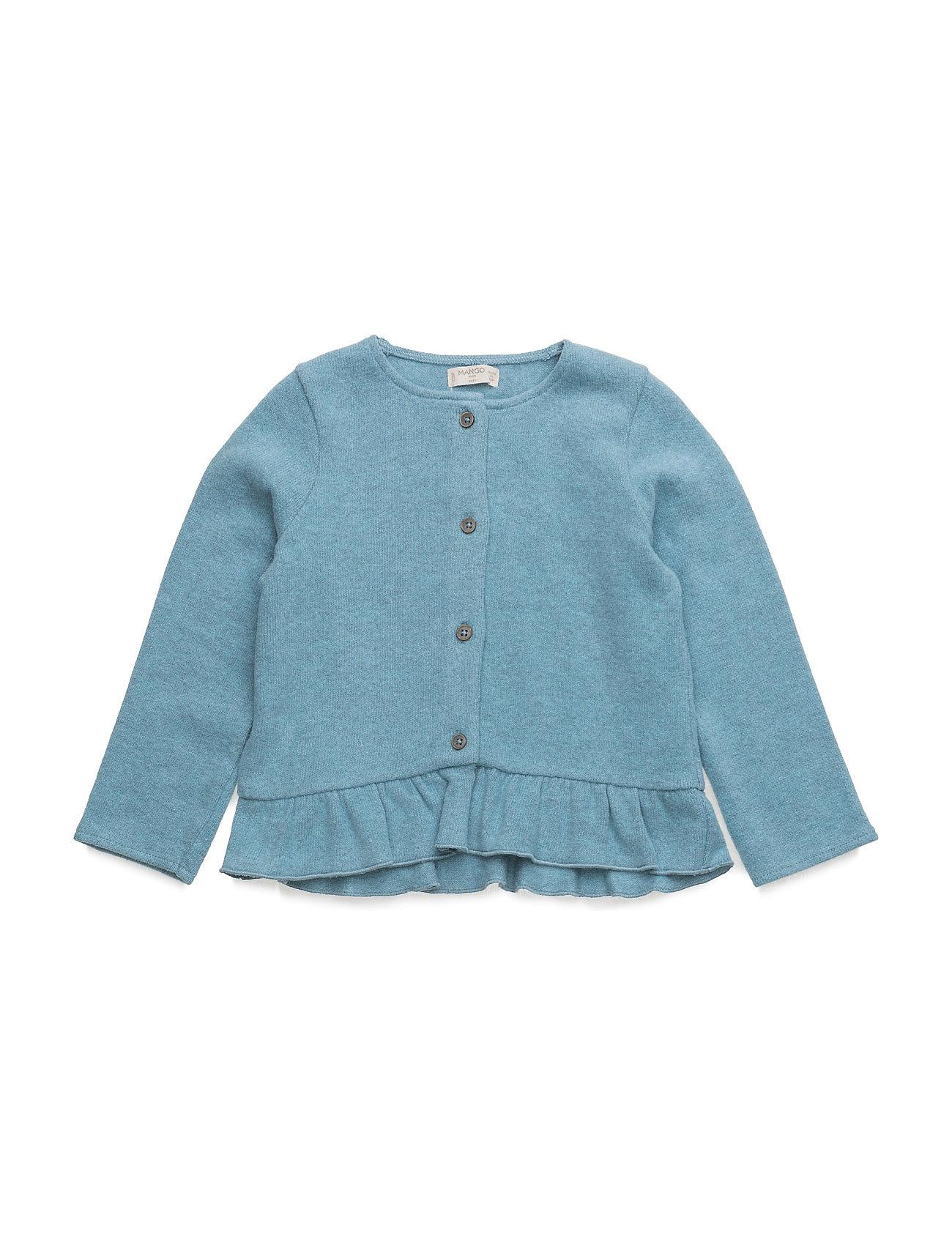 Cotton-Blend Cardigan Mango Kids Cardigans til Piger i Medium Blå