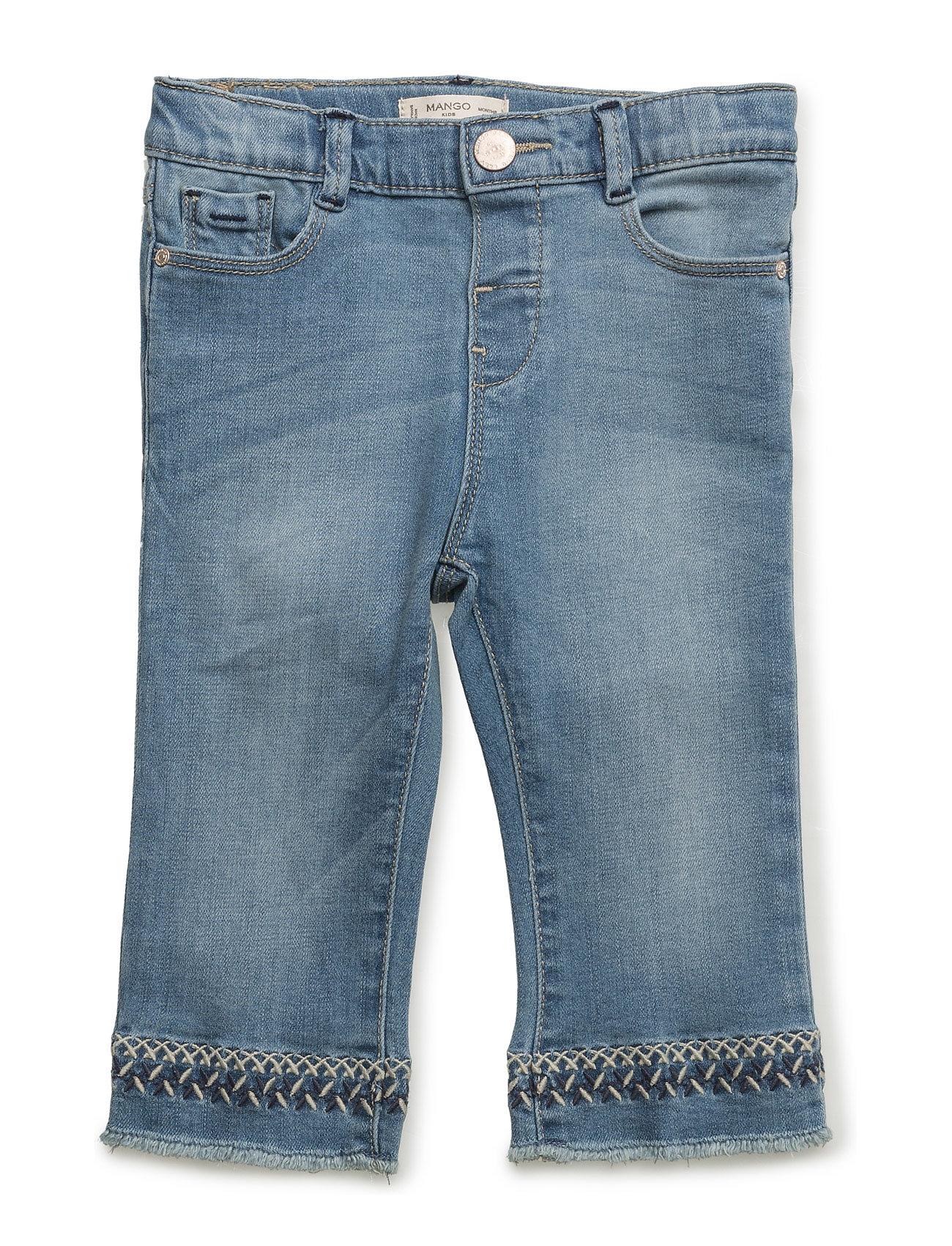 Embroidered Slim Jeans Mango Kids  til Børn i Open Blå