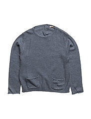 Knit pockets sweater - MEDIUM BLUE