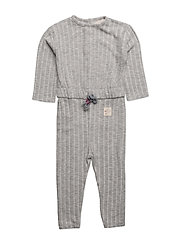 Textured long jumpsuit - MEDIUM GREY