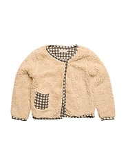 Faux shearling checkered jacket - LIGHT BEIGE