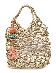 Pompons net bag - LIGHT BEIGE