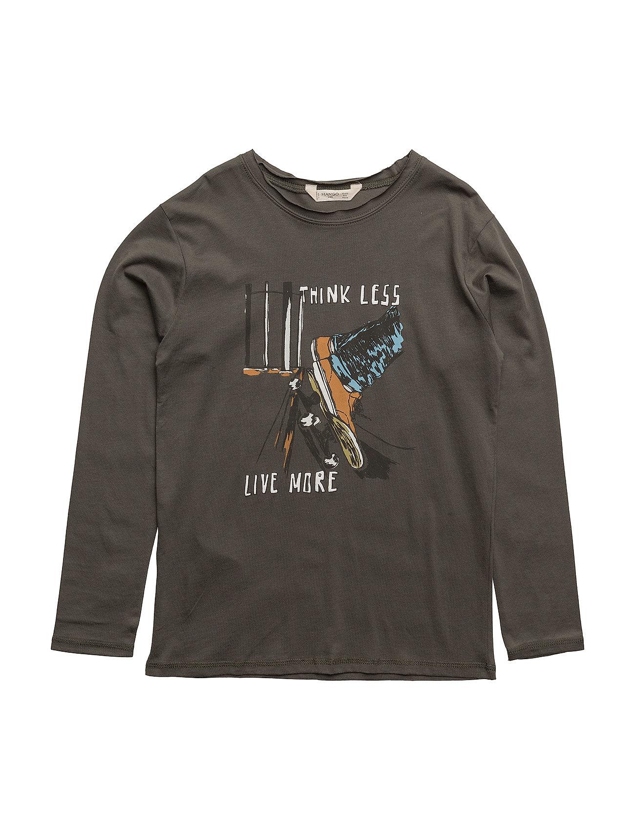 Embossed Design T-Shirt Mango Kids Langærmede t-shirts til Børn i Beige - Khaki