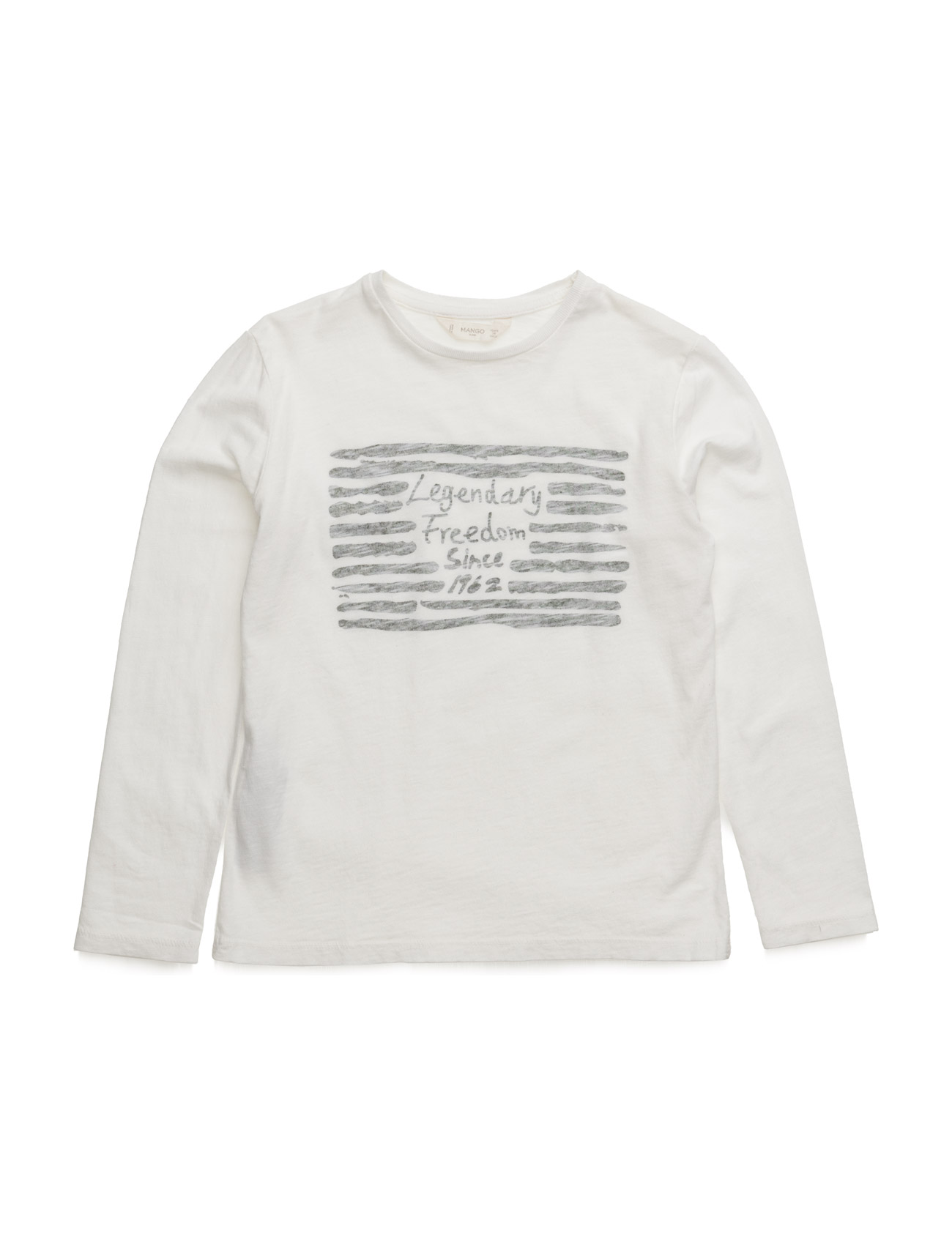 Image Cotton T-Shirt Mango Kids Langærmede t-shirts til Børn i hvid