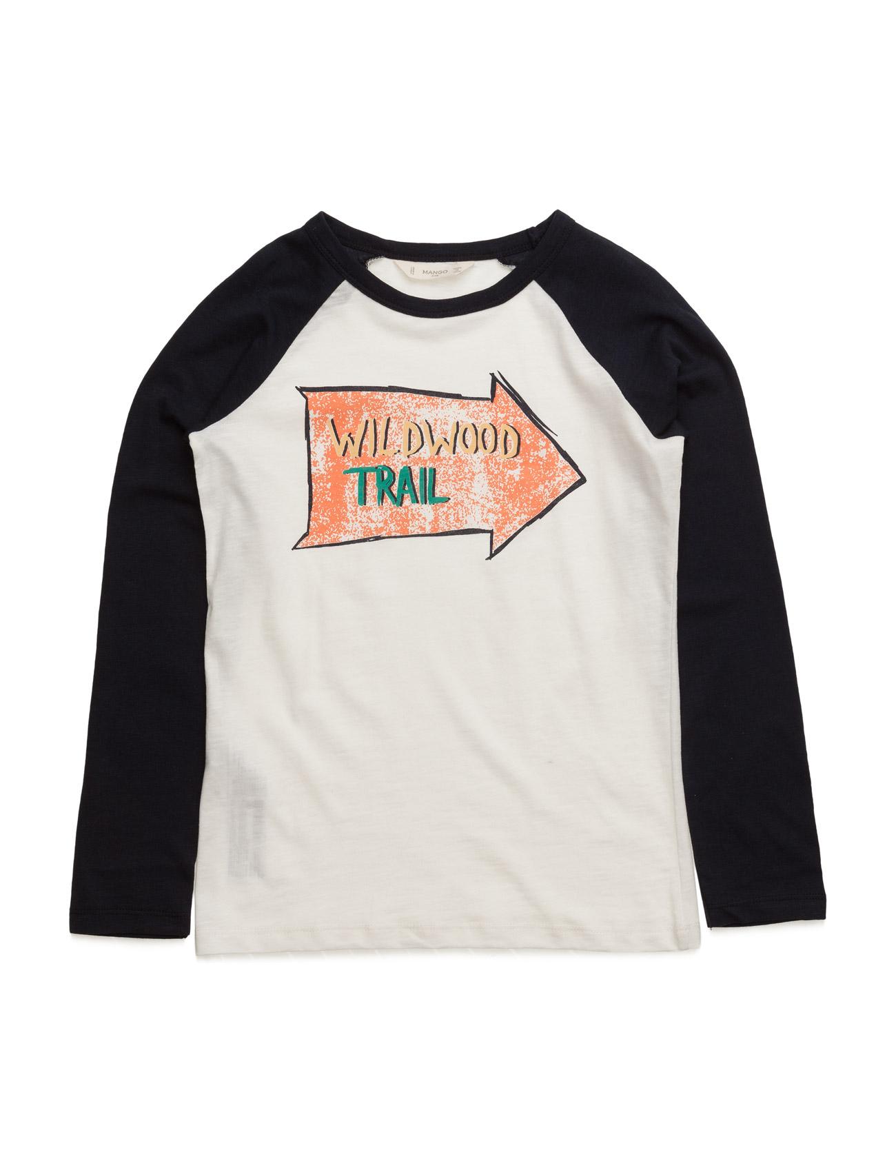 Printed Contrasting Fabric T-Shirt Mango Kids Langærmede t-shirts til Børn i hvid