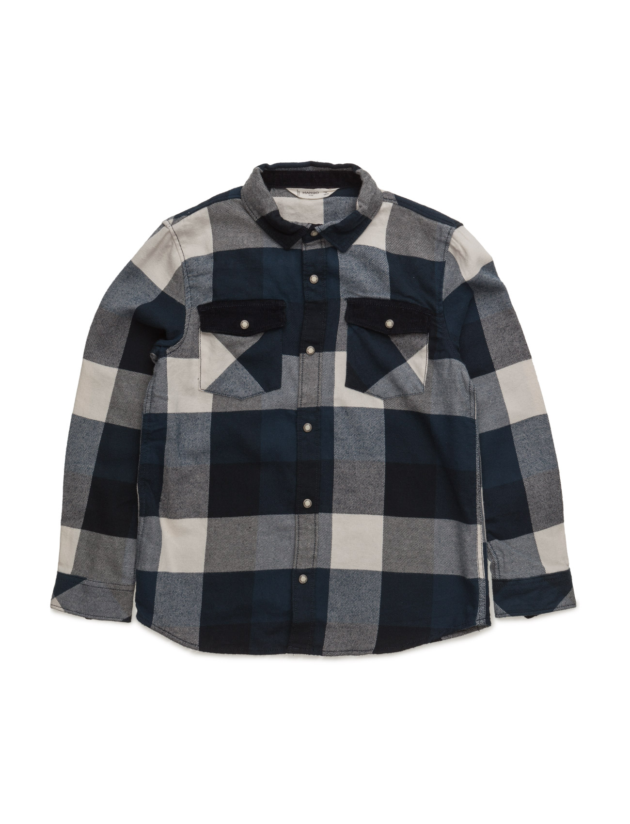 Checked Flannel Shirt Mango Kids  til Børn i Navy blå