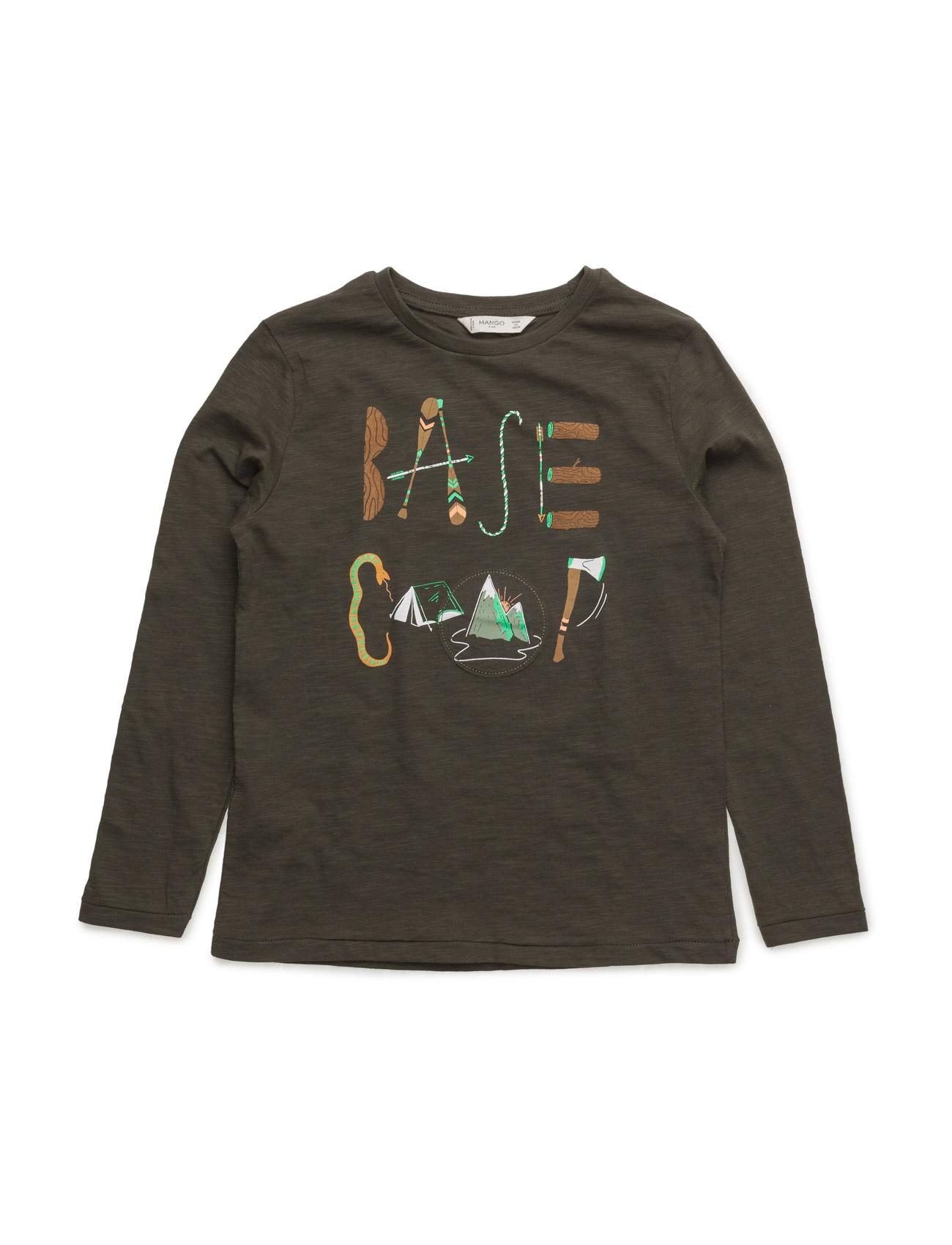 Printed Cotton T-Shirt Mango Kids Langærmede t-shirts til Børn i Beige - Khaki