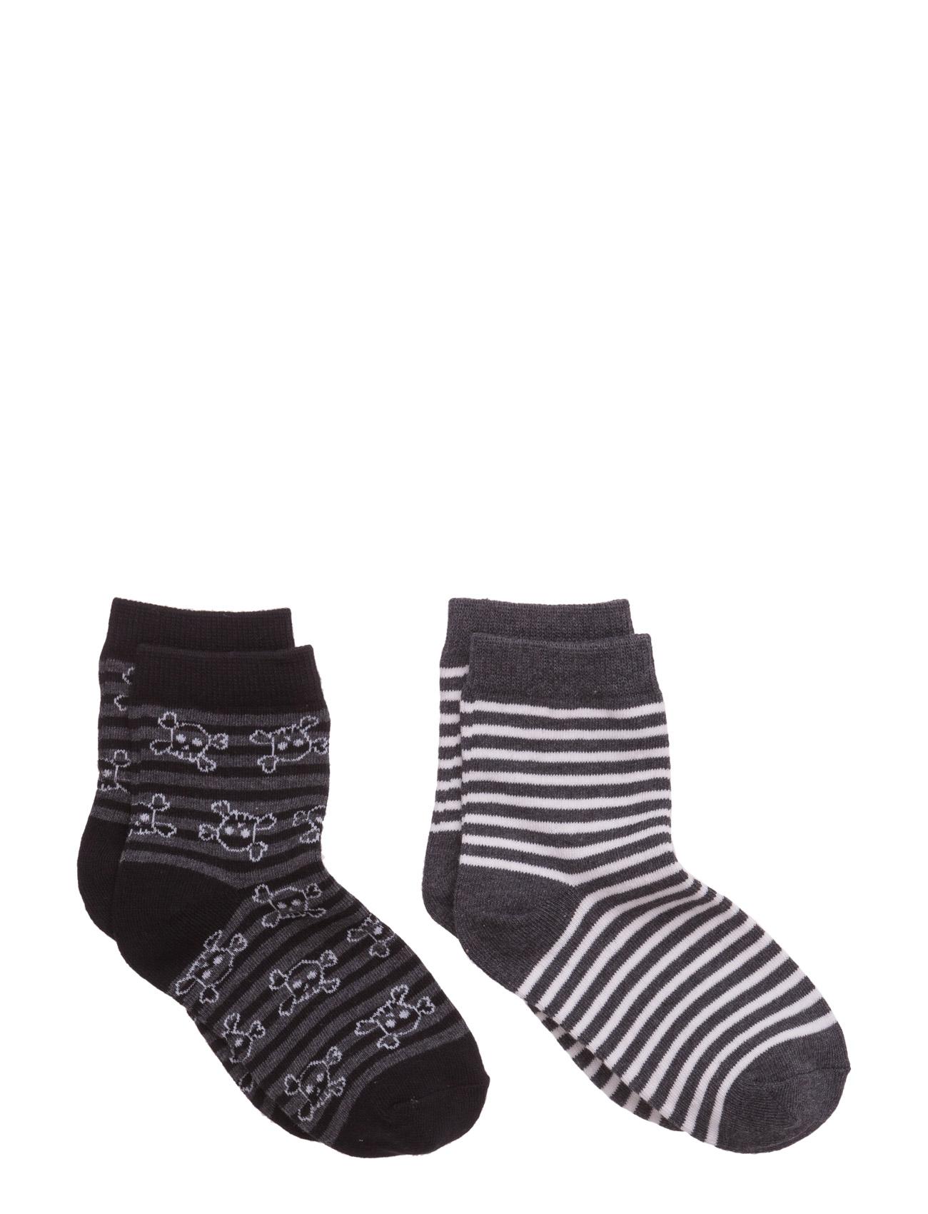 2 Pack Striped Socks Mango Kids Strømper & Strømpebukser til Børn i Mørkegrå