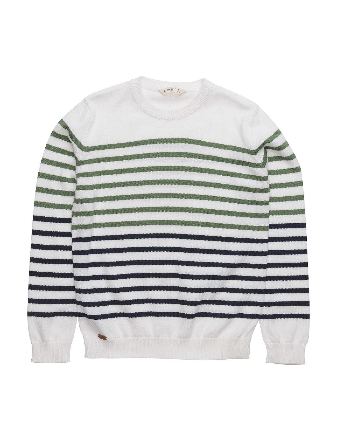 Striped Cotton-Blend Sweater Mango Kids  til Børn i Grøn