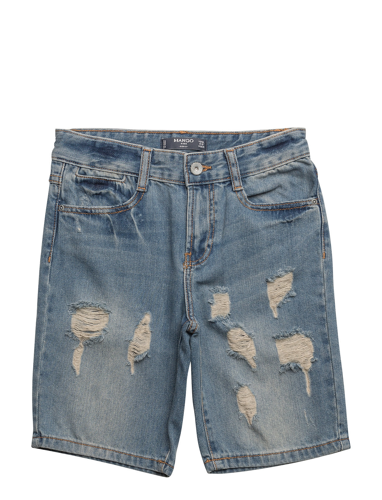 Ripped-Detail Denim Bermuda Shorts Mango Kids