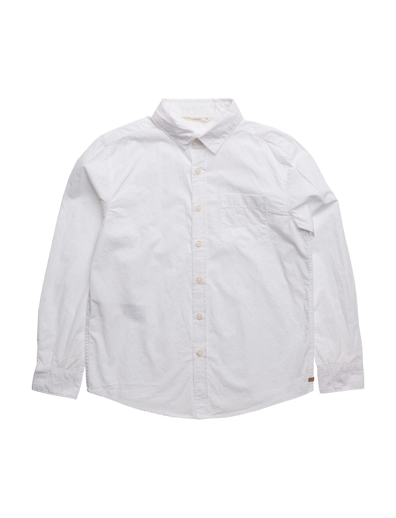 Chest-Pocket Cotton Shirt Mango Kids  til Børn i hvid