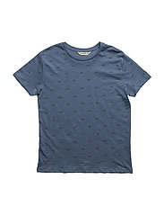 Printed cotton t-shirt - MEDIUM BLUE