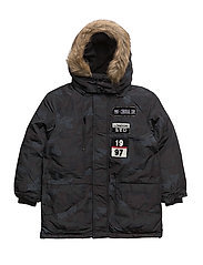 Patch mixed coat - CHARCOAL