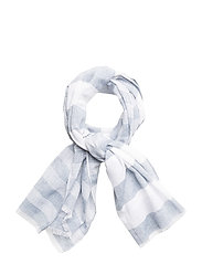 Check cotton scarf - DARK BLUE