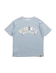 Embroidered message t-shirt - MEDIUM BLUE