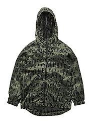 Hooded printed jacket - BEIGE - KHAKI