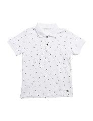 Printed cotton polo shirt - WHITE