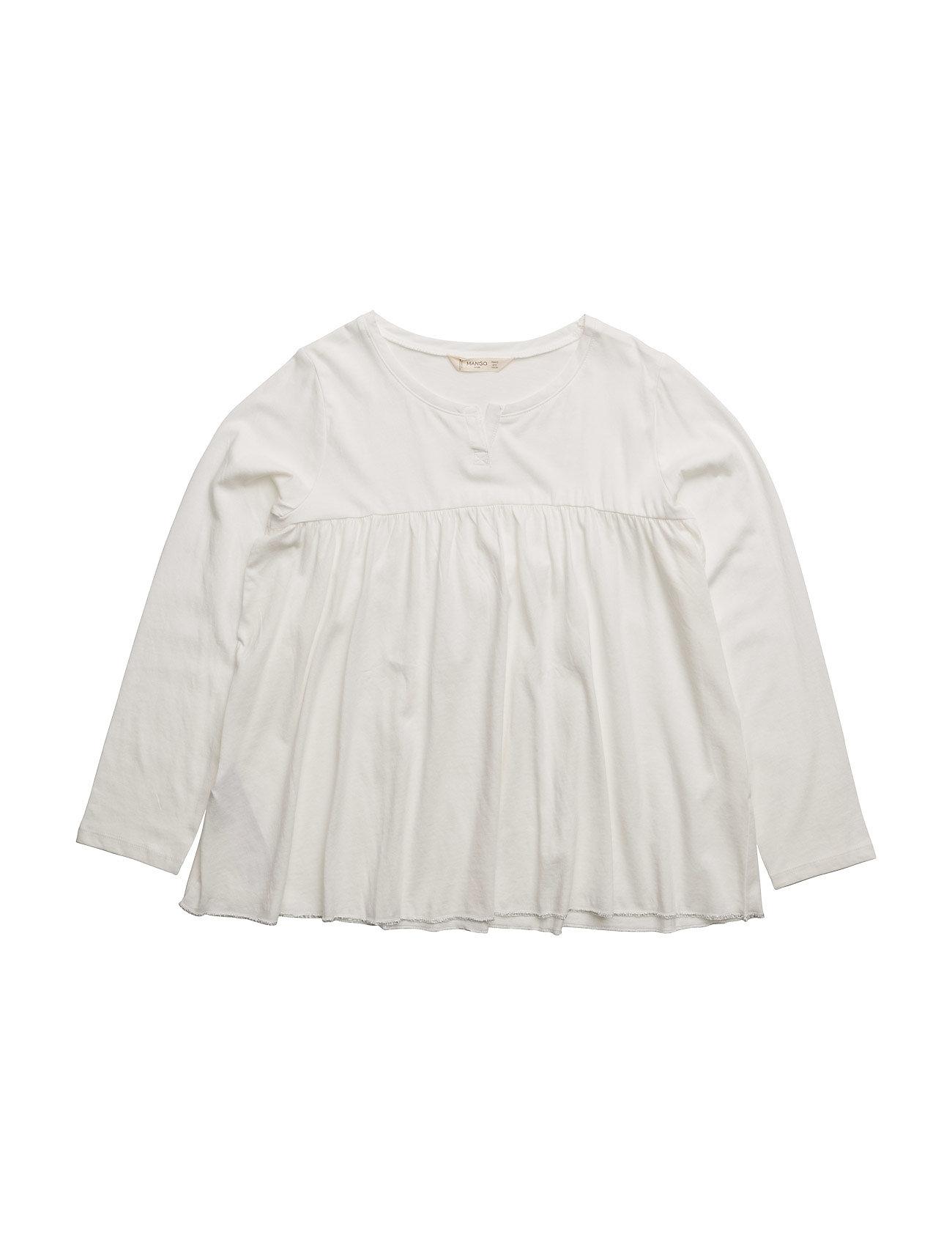 Ruched Detail T-Shirt Mango Kids Langærmede t-shirts til Børn i Natural White