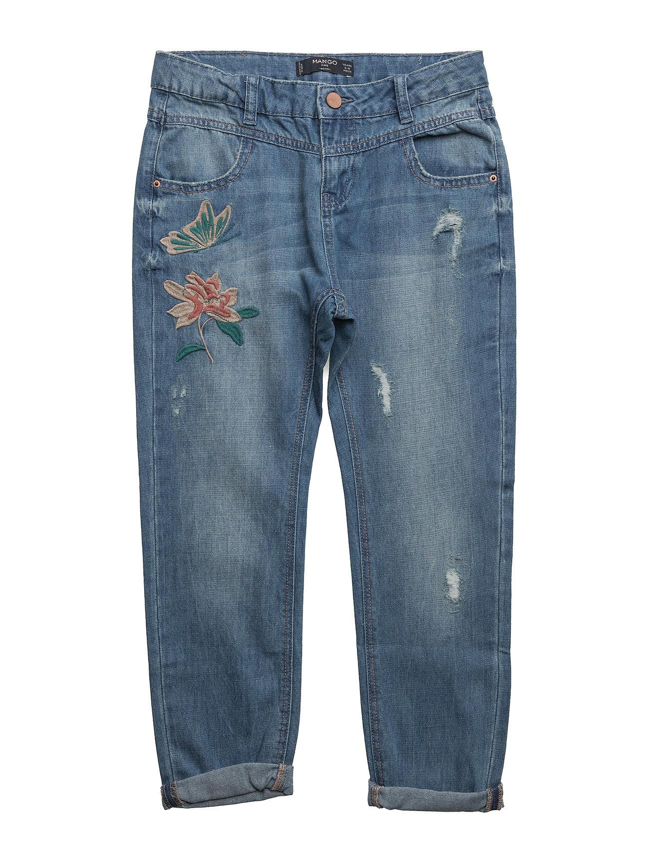 Embroidered Relaxed Jeans Mango Kids  til Børn i Open Blå