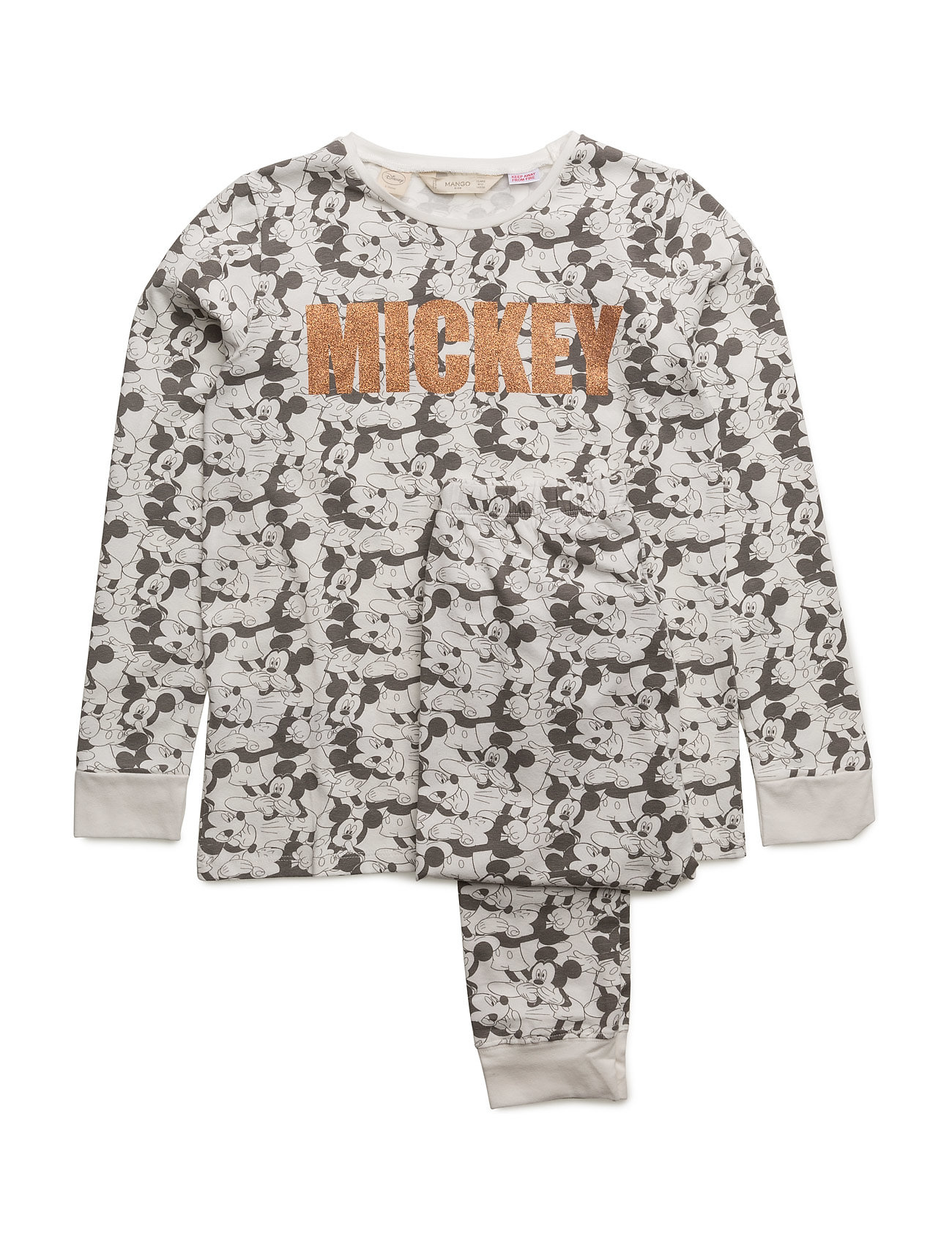 Mickey Mouse Long Pyjamas Mango Kids Pyjamas til Børn i Light Beige
