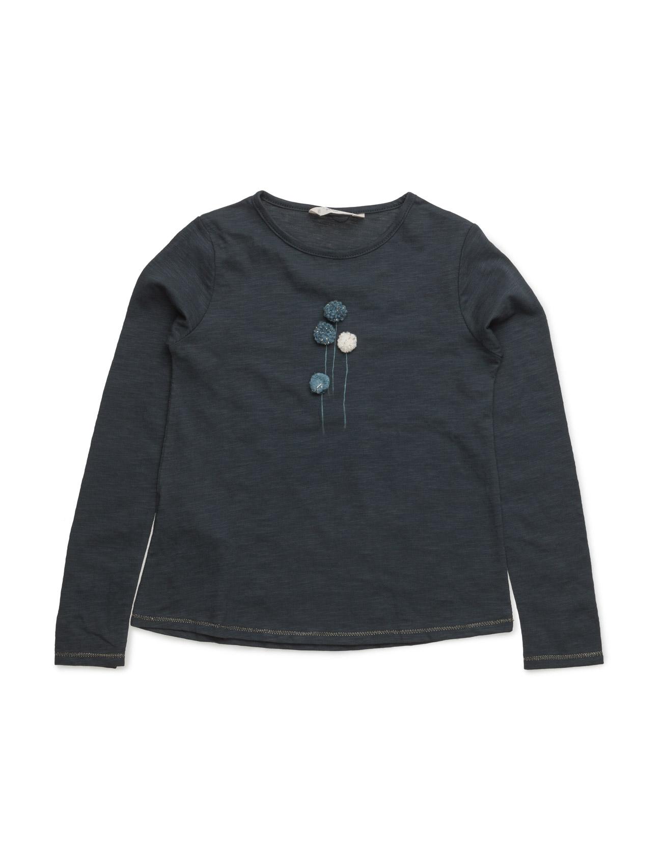 Embroidered Detail Cotton T-Shirt Mango Kids Langærmede t-shirts til Børn i Mørkeblå