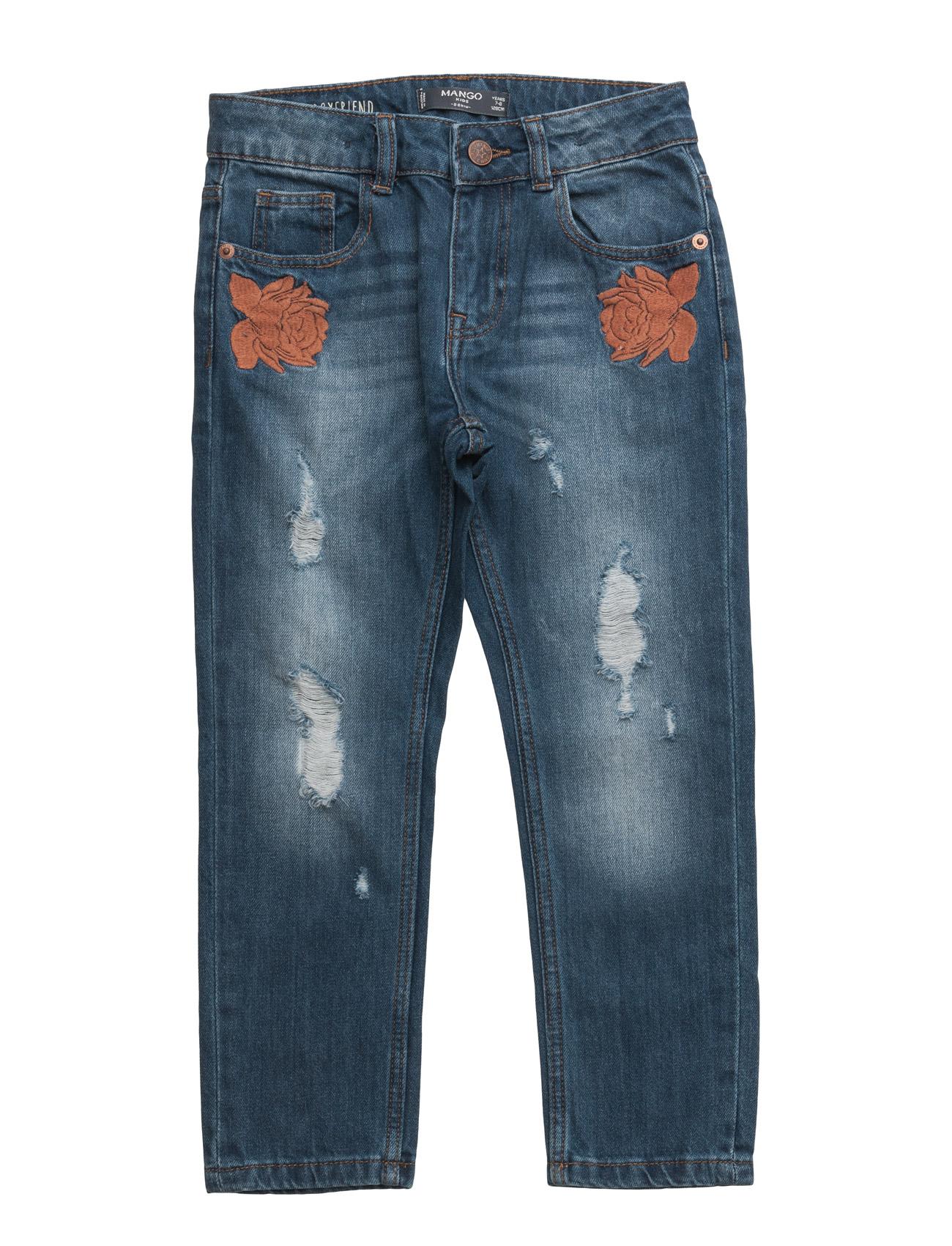 Embroidered Boyfriend Jeans Mango Kids  til Børn i Open Blå