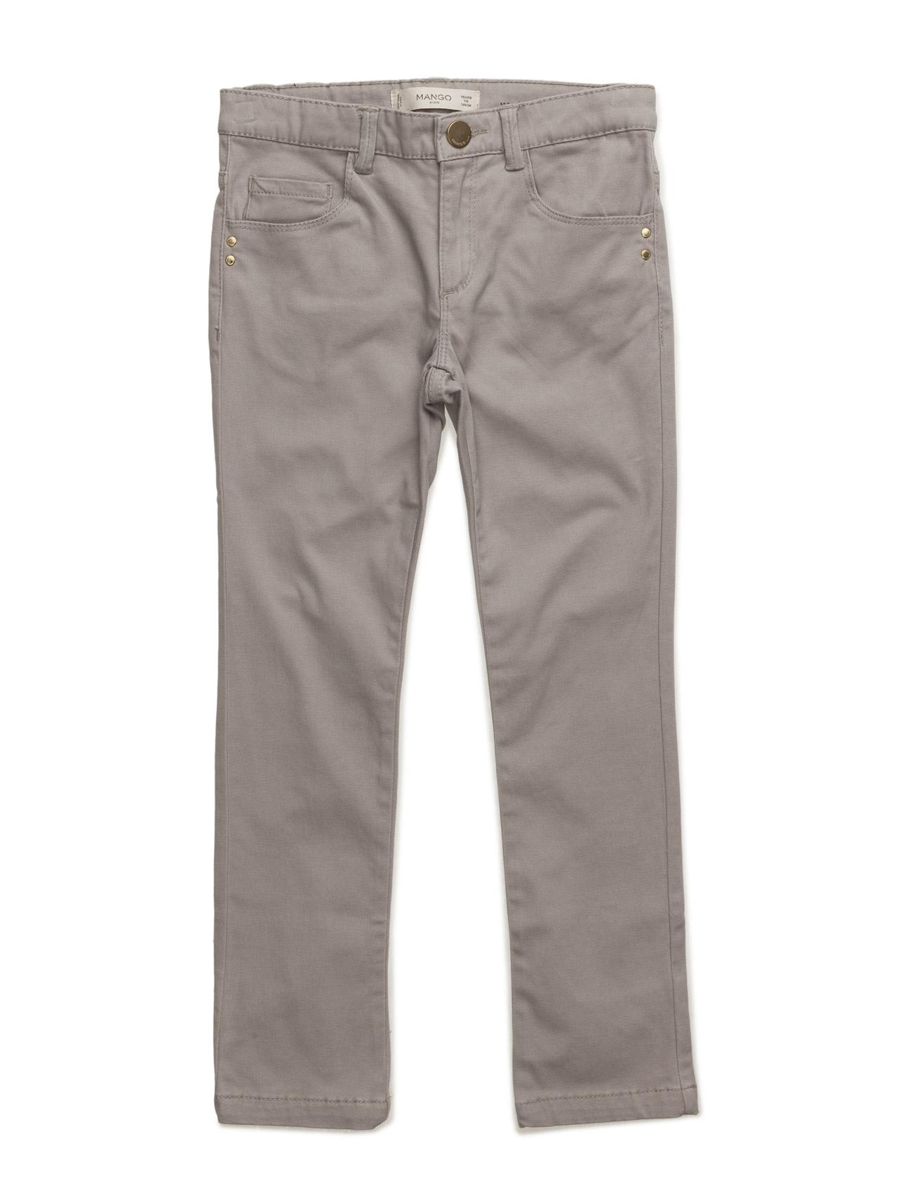 Skinny Cotton Trousers Mango Kids  til Børn i Grå