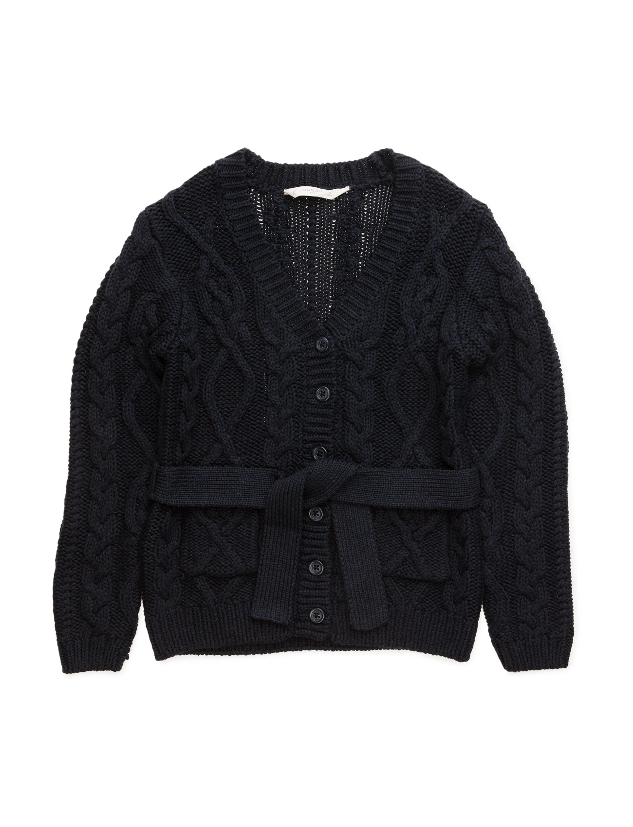 Cable-Knit Cotton Cardigan Mango Kids  til Børn i Navy blå