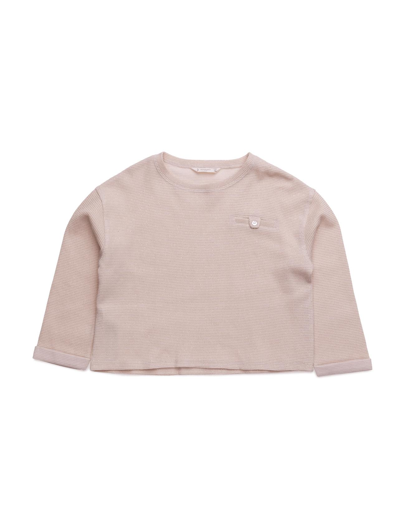 Metallic Cotton-Blend Sweatshirt Mango Kids Langærmede t-shirts til Børn i Light Beige