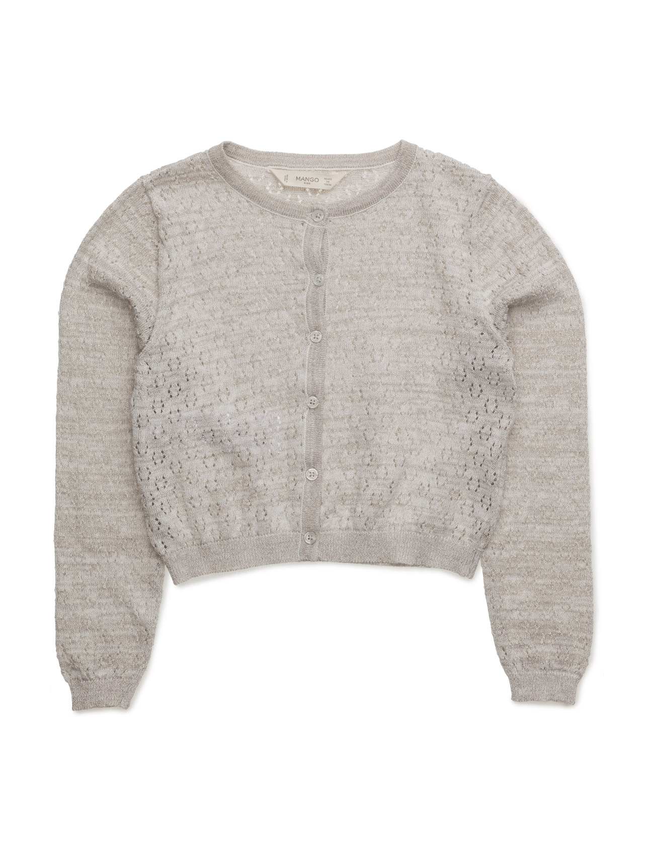 Metal Thread Cardigan Mango Kids  til Børn i Light Beige