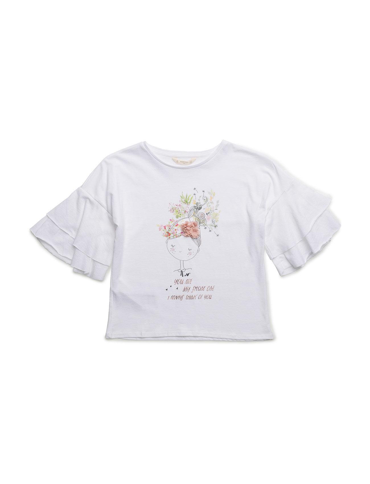 Ruffled Sleeve T-Shirt Mango Kids Kortærmede t-shirts til Børn i hvid