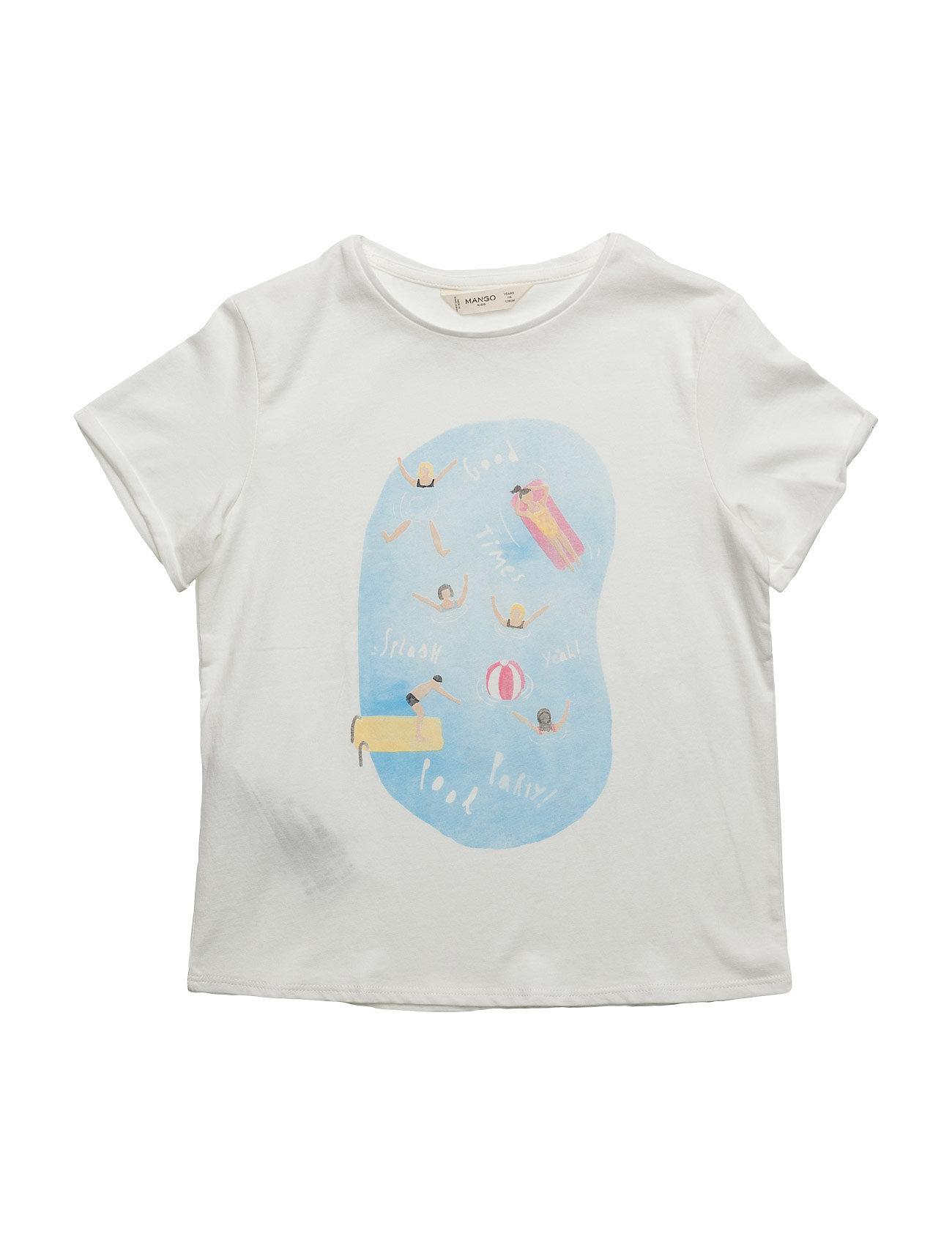 Printed Cotton T-Shirt Mango Kids T-shirts til Piger i Natural White