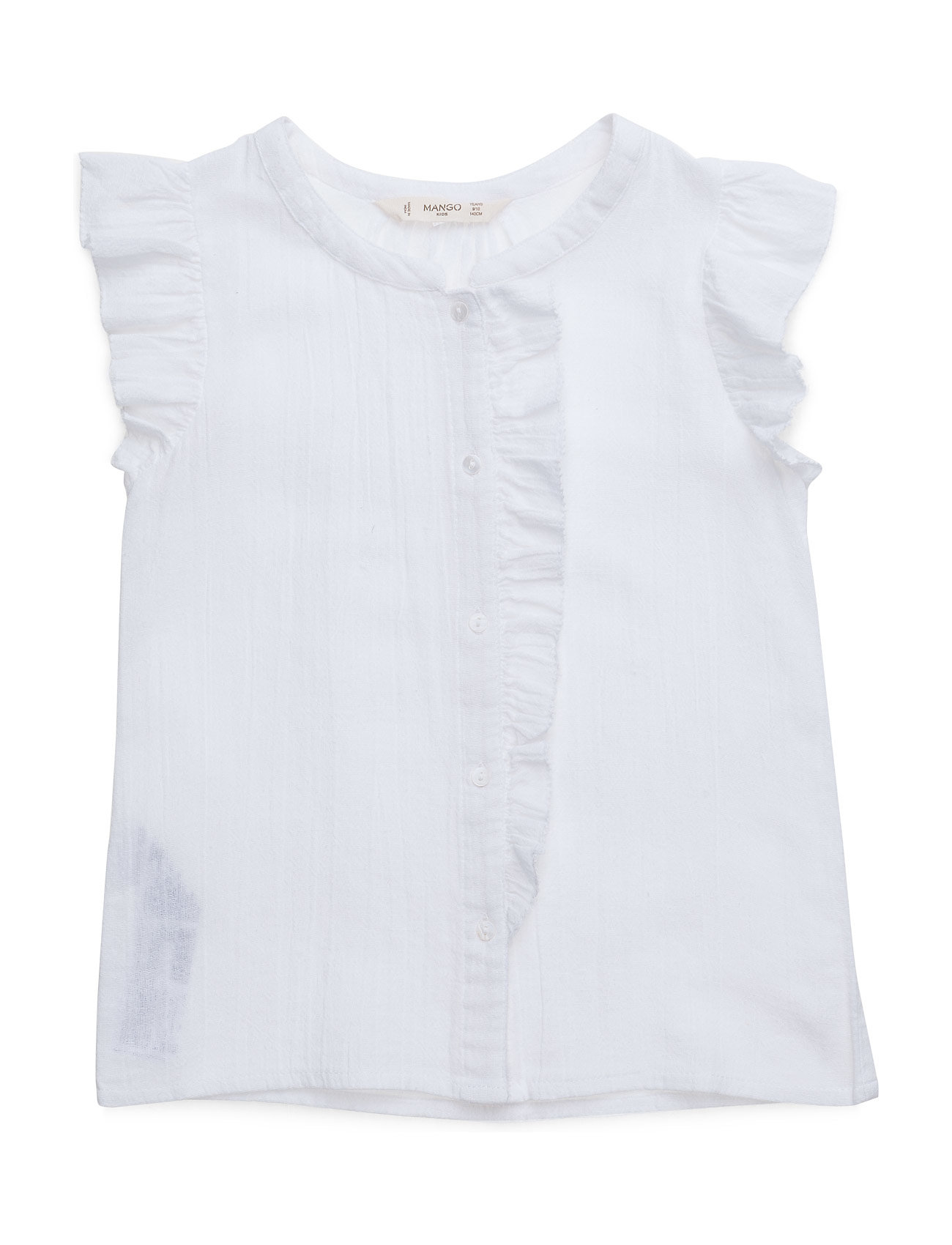 Ruffled Cotton Shirt Mango Kids  til Børn i hvid