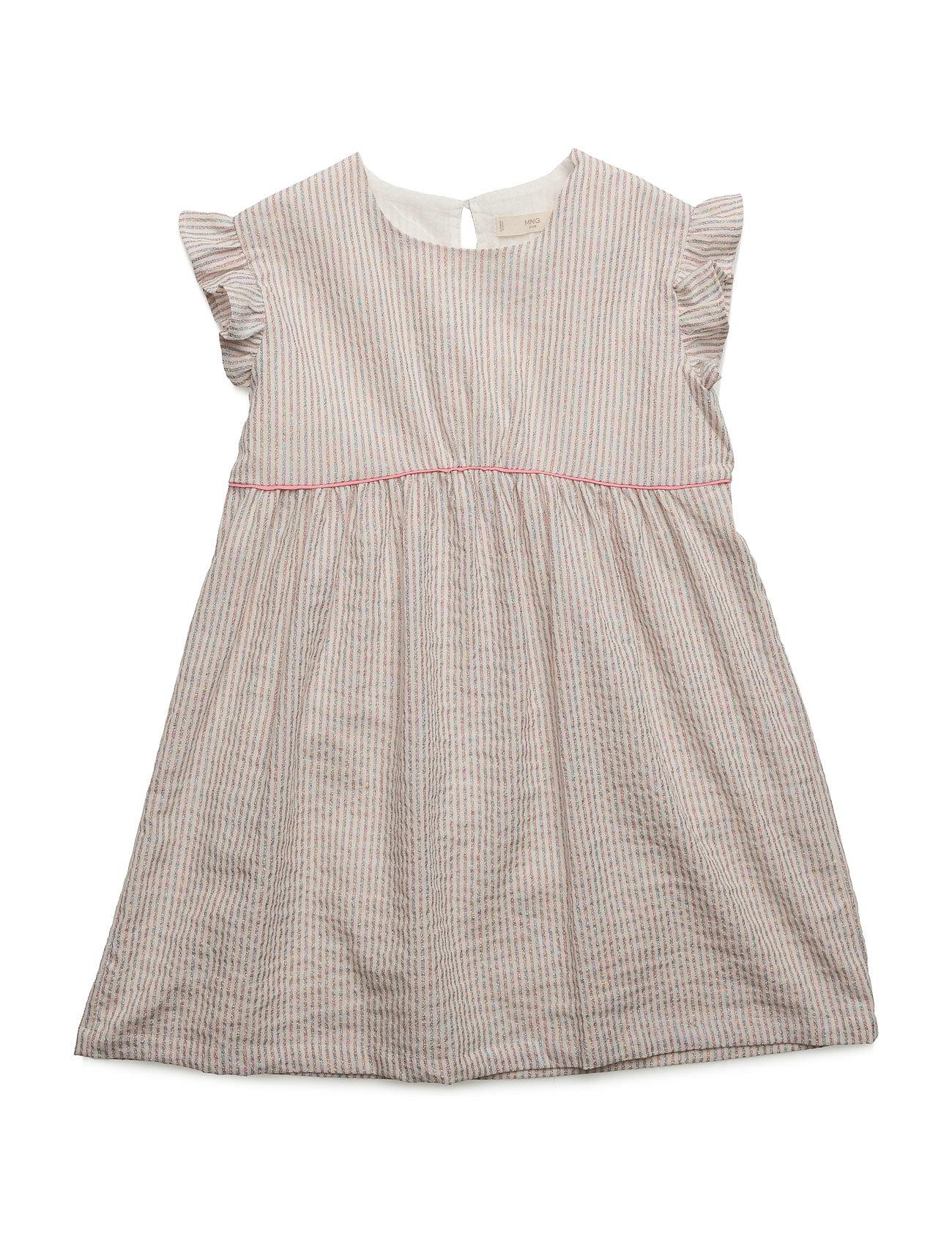 Metallic Striped Dress Mango Kids Kjoler til Børn i Lyserød