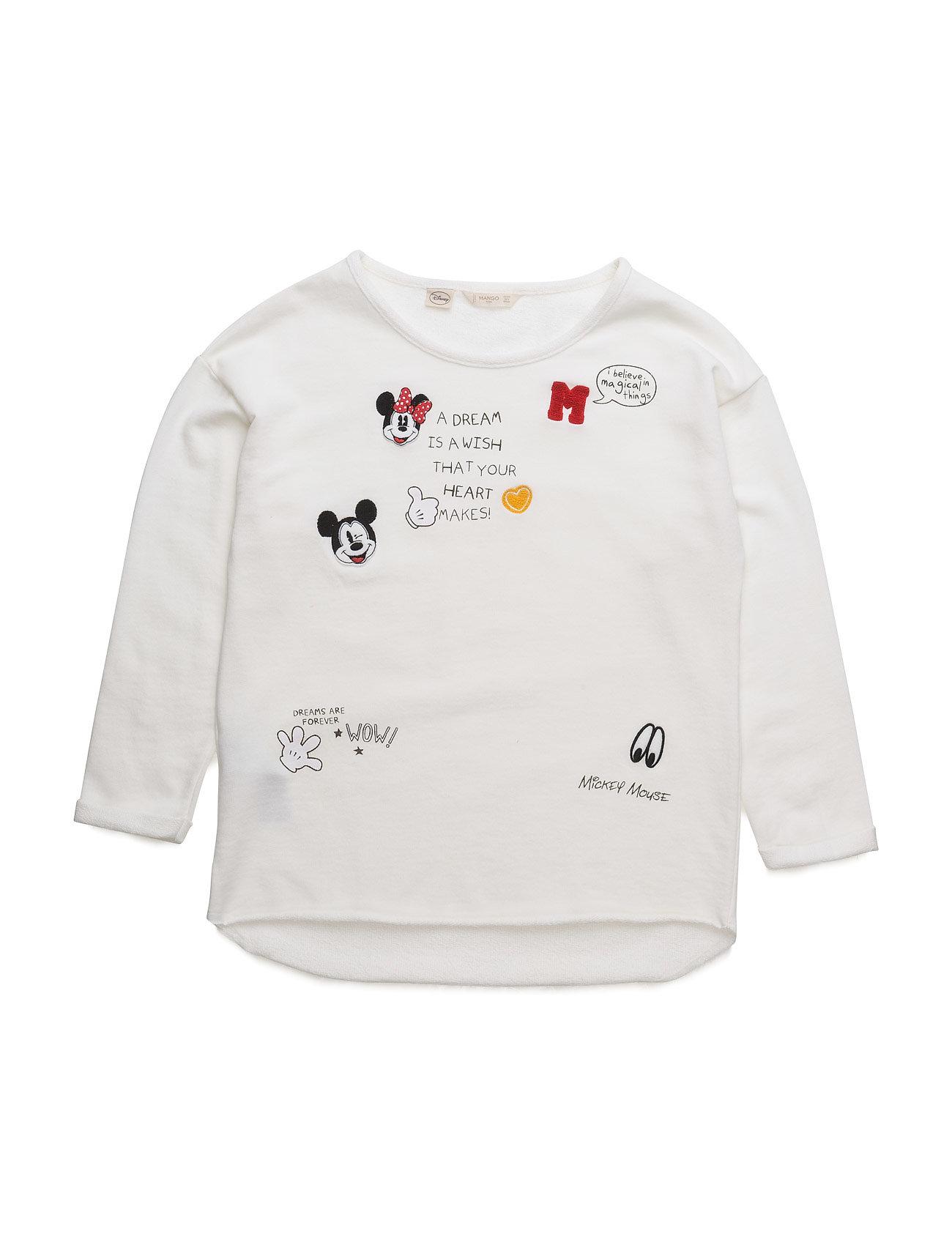 Mickey Mouse Sweatshirt Mango Kids T-shirts til Piger i Natural White