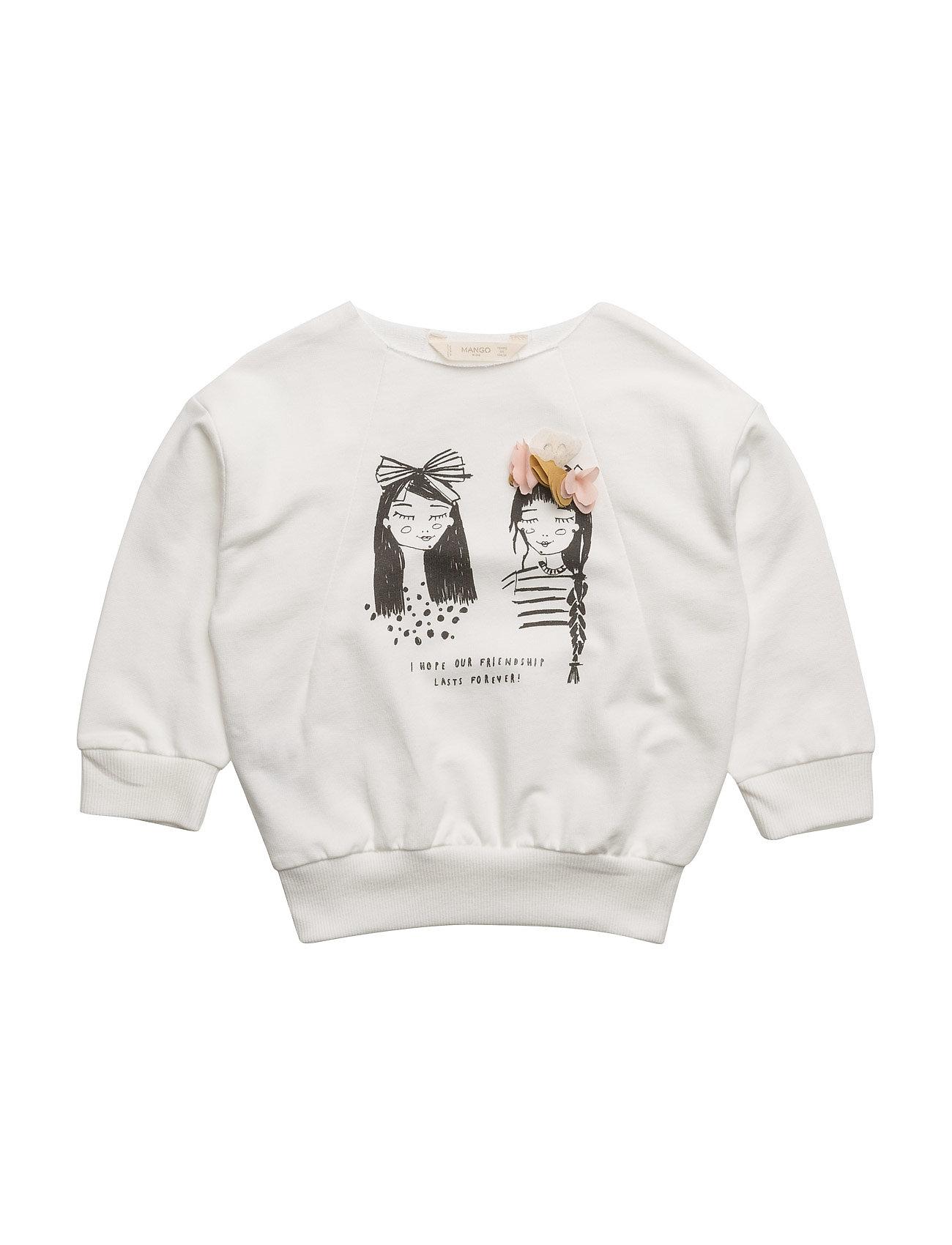 Printed Cotton Sweatshirt Mango Kids  til Børn i Natural White