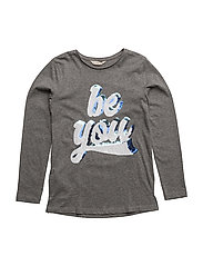 Sequined message t-shirt - MEDIUM GREY