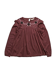 Printed tulle t-shirt - DARK RED