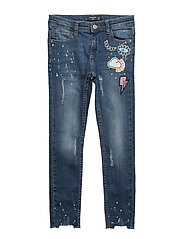 Patched painted skinny jeans - OPEN BLUE